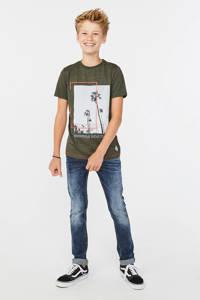 WE Fashion T-shirt met printopdruk kaki, Kaki