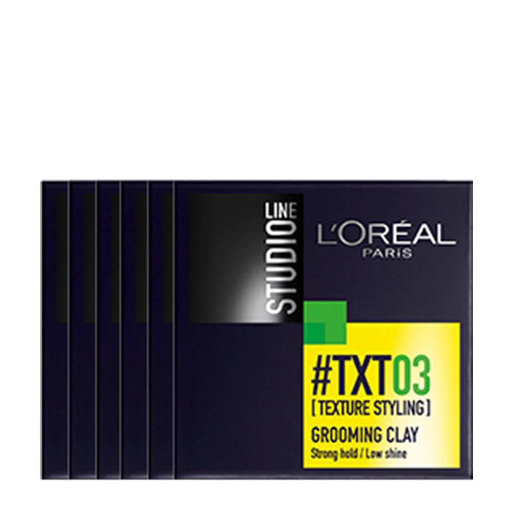 L'Oréal Paris Studio Line 03 Grooming Clay - 6x 75ml multiverpakking