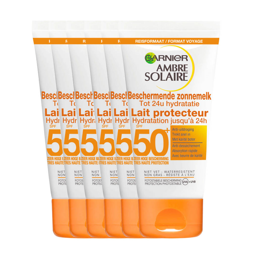 Garnier Ambre Solaire Beschermende Zonnemelk SPF 50 reisformaat - 6x 50ml multiverpakking