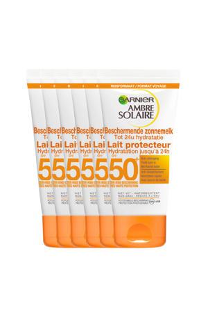 Ambre Solaire Beschermende Zonnemelk SPF 50 reisformaat - 6x 50ml multiverpakking