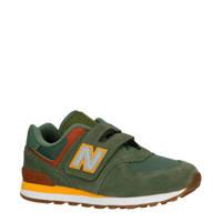 New Balance  574 sneakers groen/geel/bruin, Kakigroen/bruin/geel