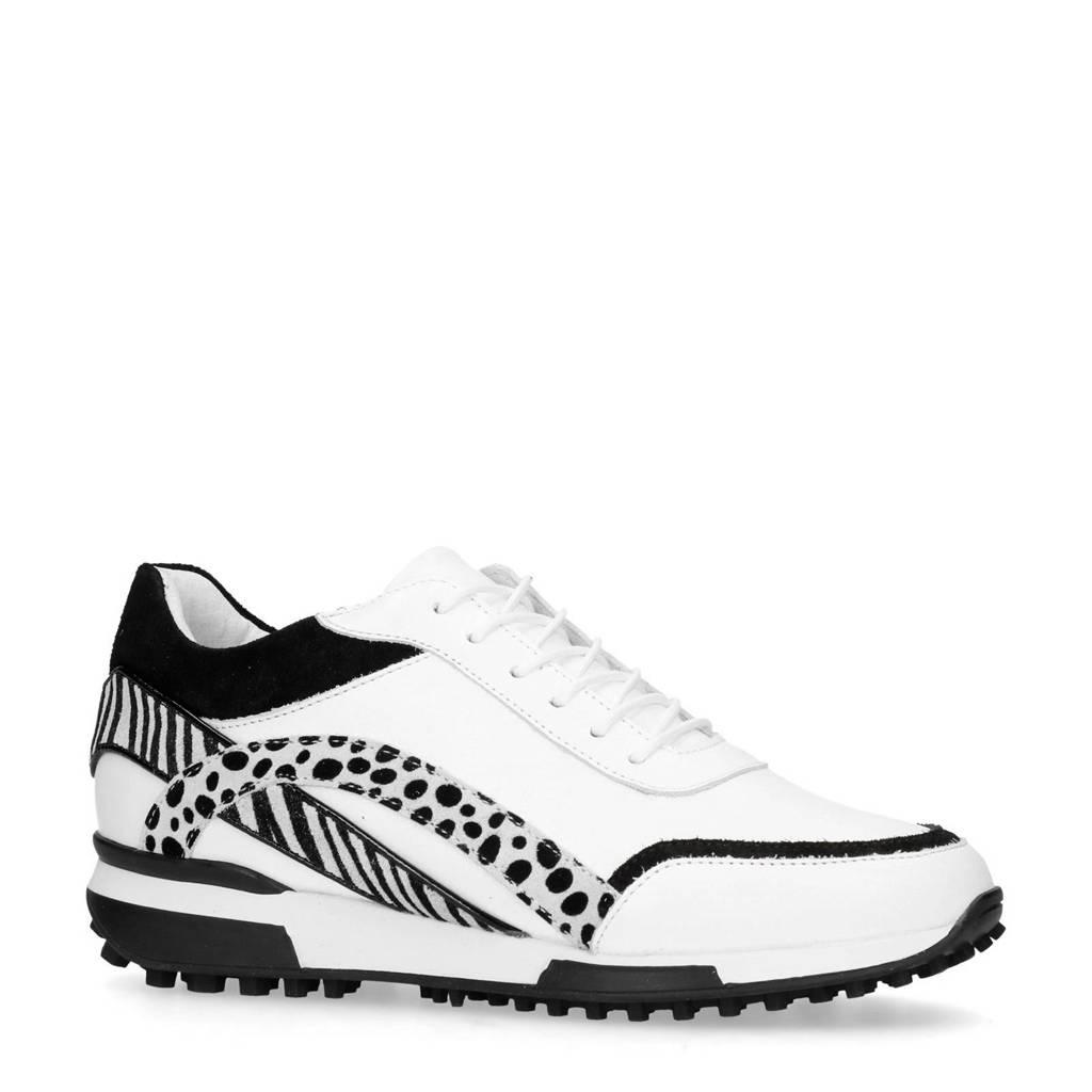 Manfield  leren sneakers met zebraprint, Wit/zwart