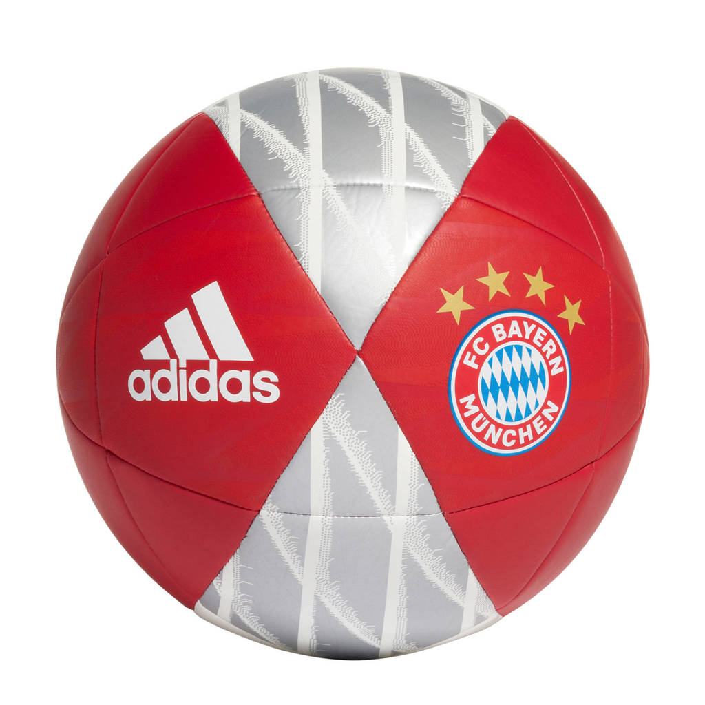 adidas  FC Bayern München voetbal wit maat 5, Rood/grijs/wit