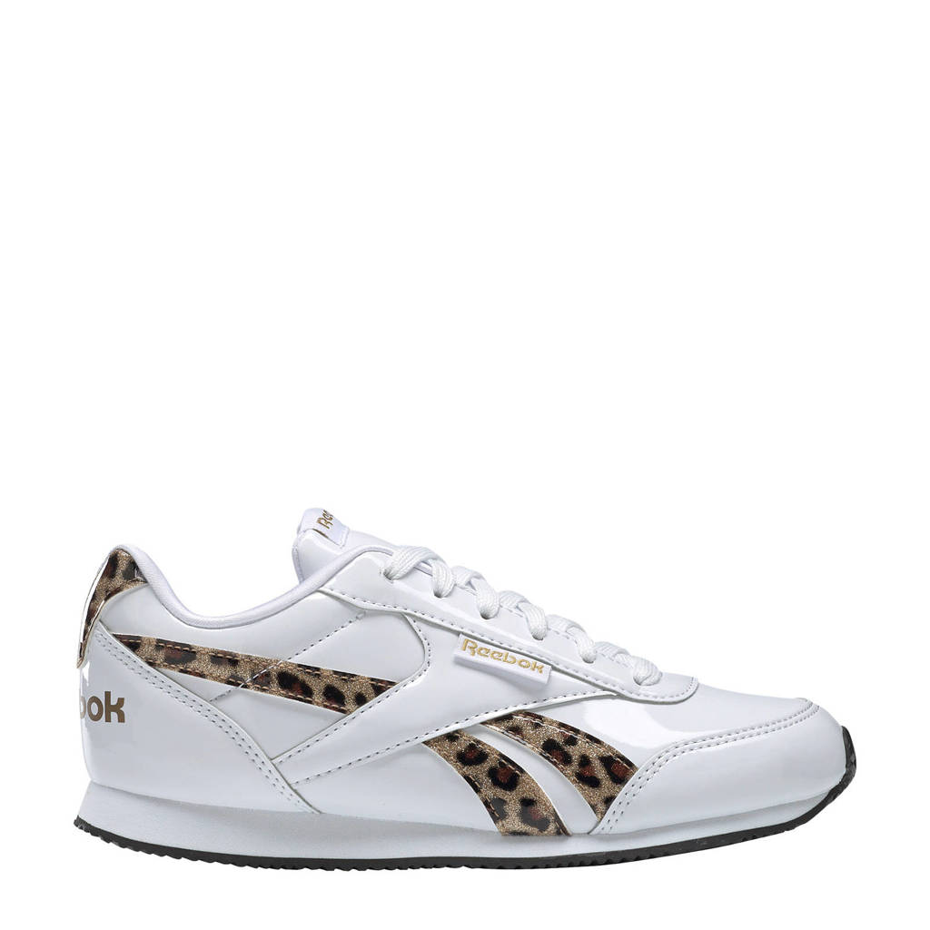 Reebok  Royal Cljog sneakers wit/panterprint, Wit/bruin