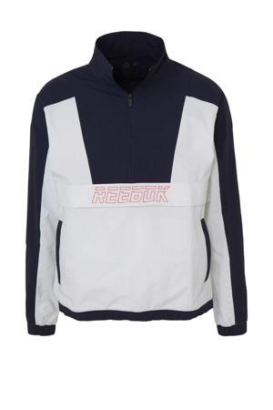 sportsweater wit/donkerblauw