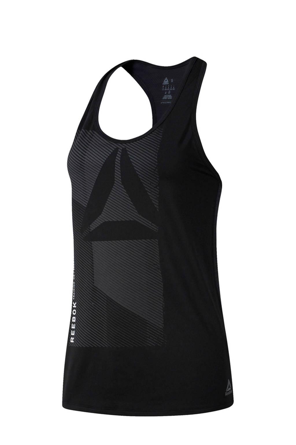 Reebok Training sporttop zwart, Zwart/grijs