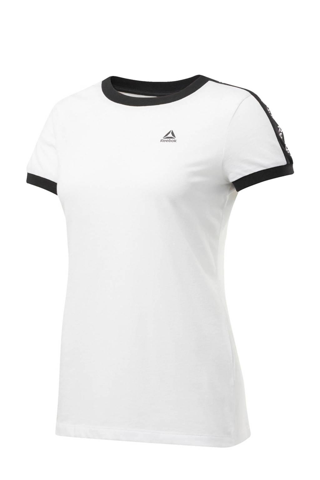 Reebok sport T-shirt wit, Wit/zwart