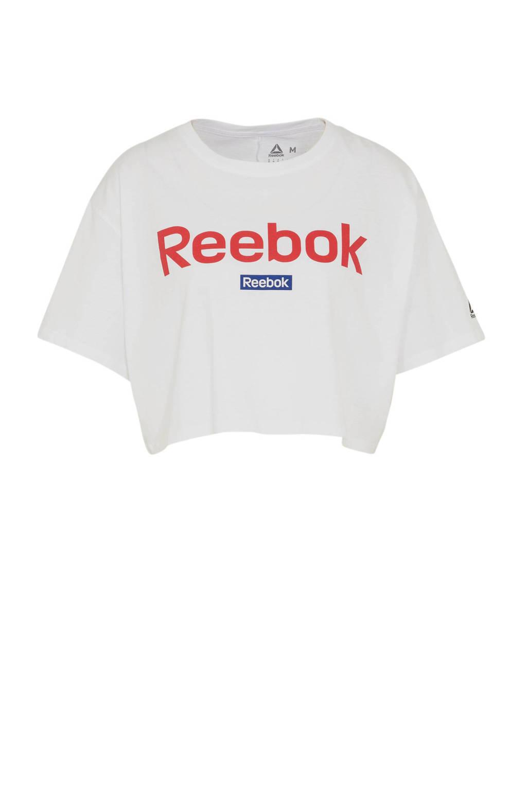 Reebok cropped sport T-shirt wit, Wit