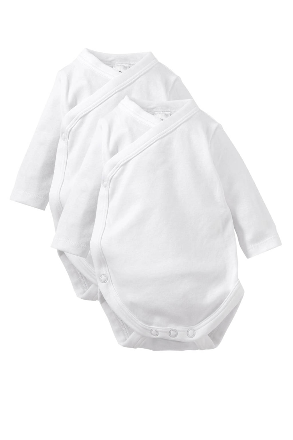 C&A newborn baby overslagromper - set van 2, Wit