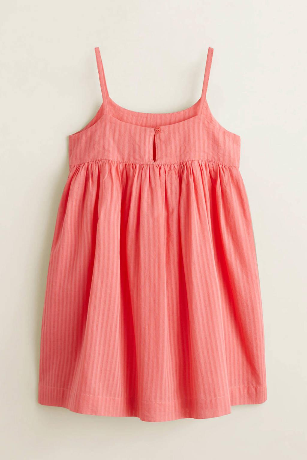 Mango Kids gestreepte spaghetti jurk roze, Koraalroze