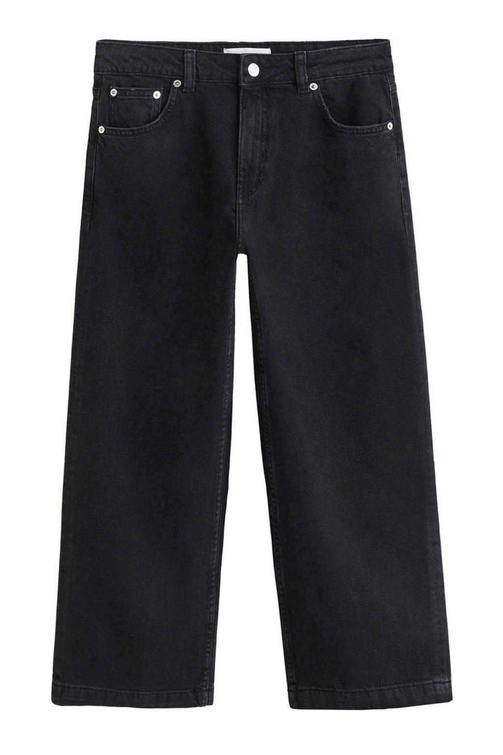 Mango cropped straight fit jeans, Zwart