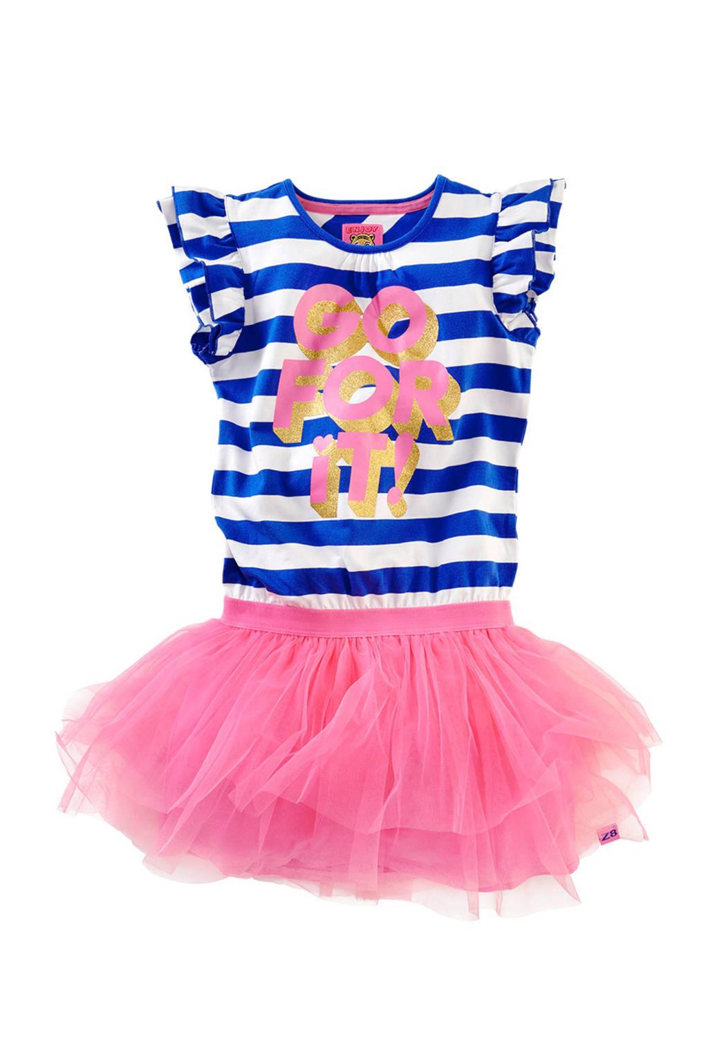 Z8 jurk Silvana met strepen en tule, Blauw/wit/roze