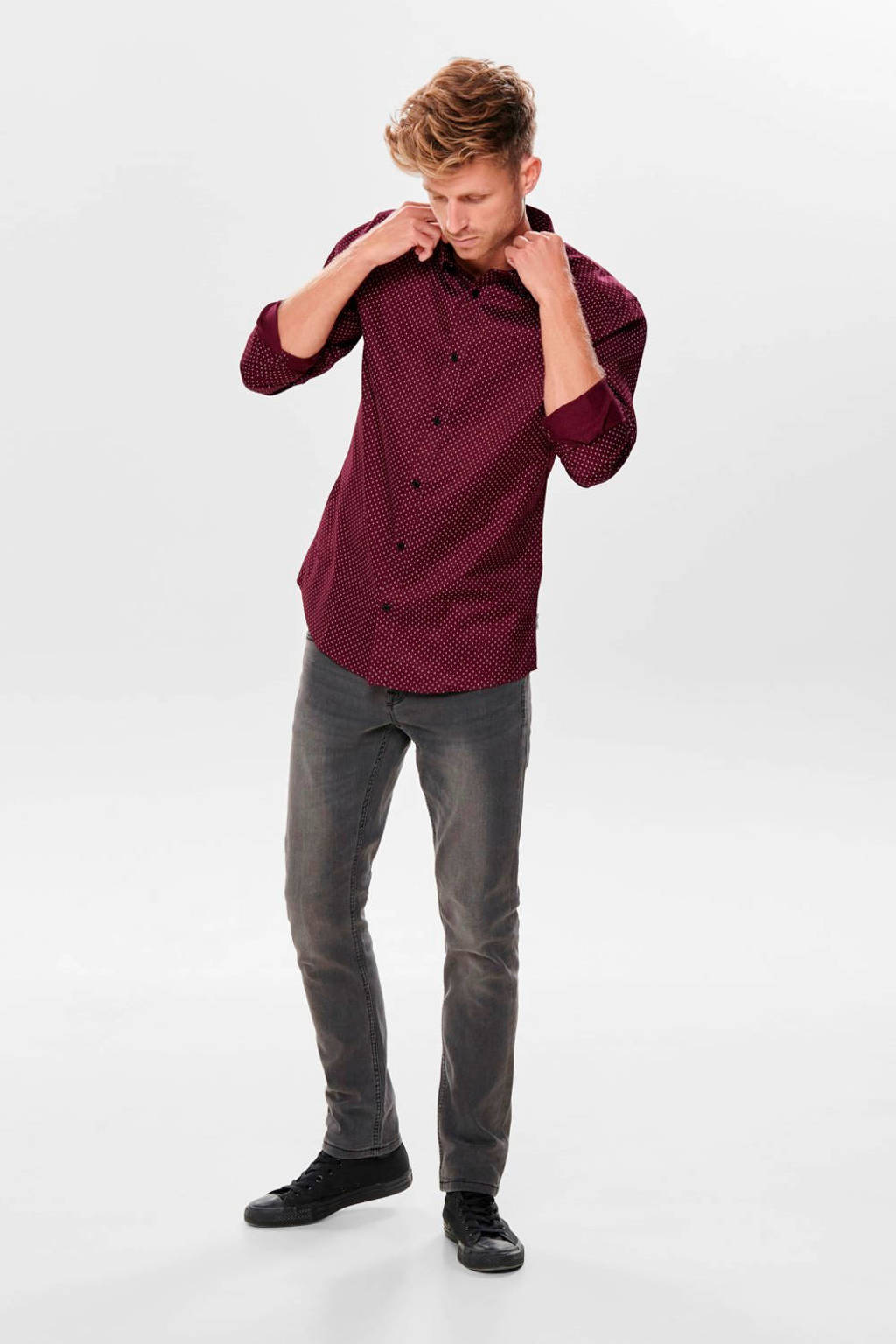 ONLY & SONS slim fit overhemd met all over print donkerrood, Donkerrood