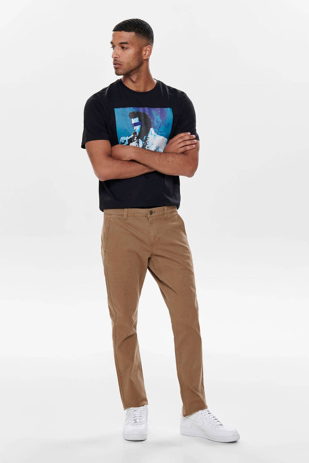 ONLY & SONS slim fit chino bruin, Bruin