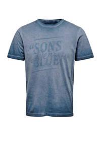 ONLY & SONS T-shirt met tekst blauw, Blauw