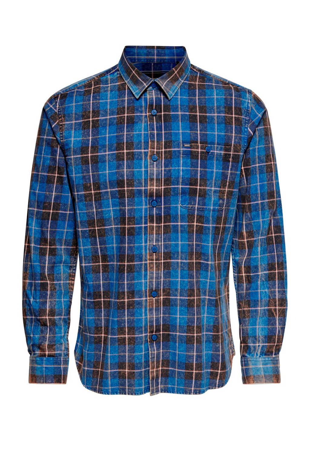 ONLY & SONS geruit regular fit overhemd donkerblauw, Donkerblauw
