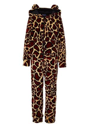 onesie met giraffe dessin bruin/zwart