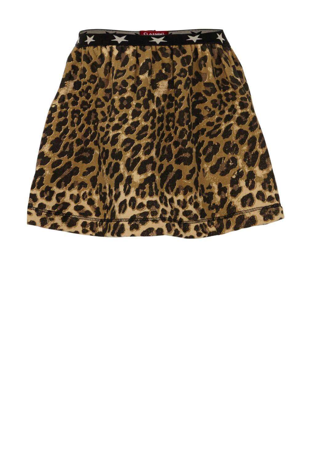 Claesen's rok met dierenprint bruin/zwart, Bruin/zwart