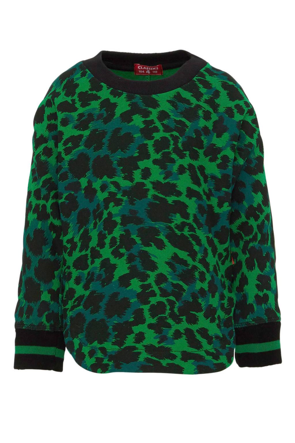 Claesen's sweater met dierenprint groen/zwart, Groen/zwart