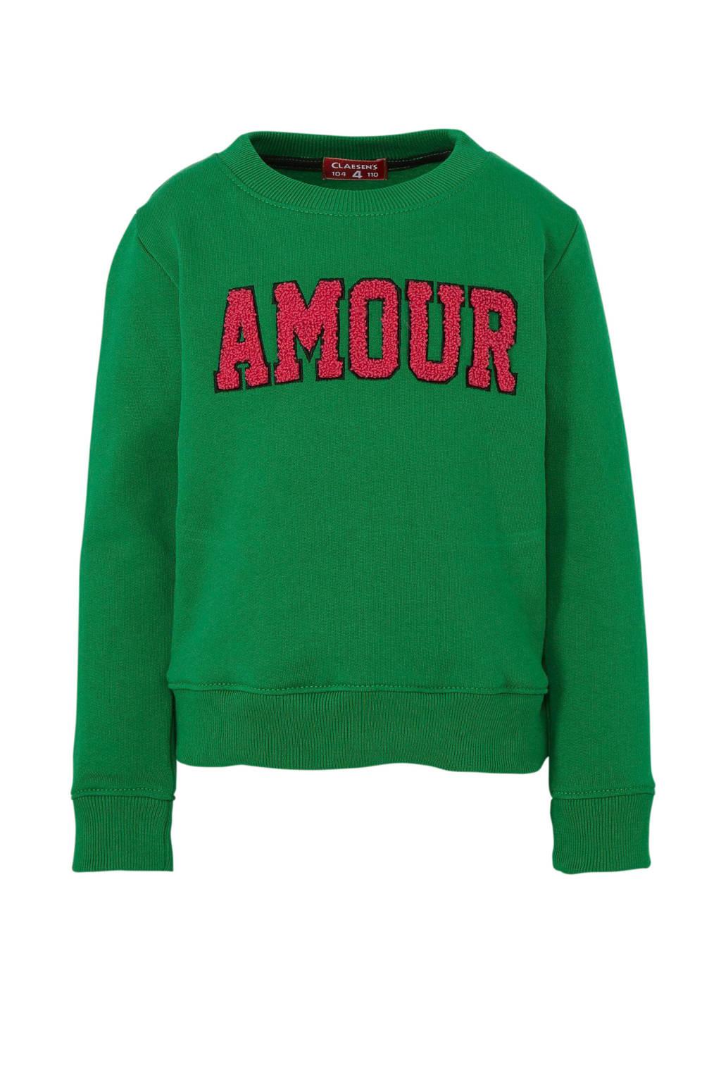 Claesen's sweater met tekst groen, Groen