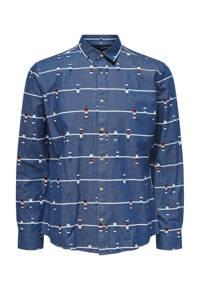 ONLY & SONS regular fit overhemd met all over print blauw, Blauw