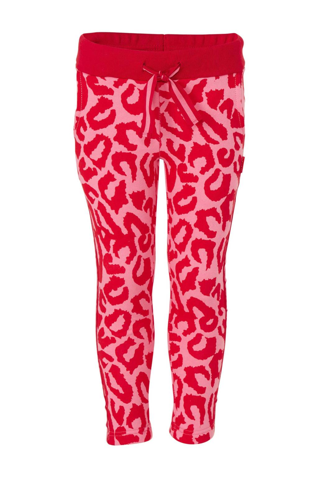 Claesen's broek met dierenprint roze/rood, Roze/rood