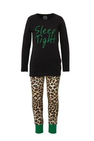 pyjama met panterprint en tekst zwart/bruin