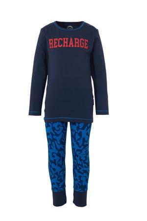 pyjama met all over print en tekst donkerblauw/blauw