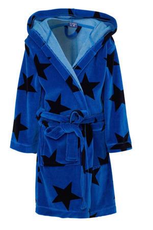 badjas met capuchon en sterren dessin blauw/zwart