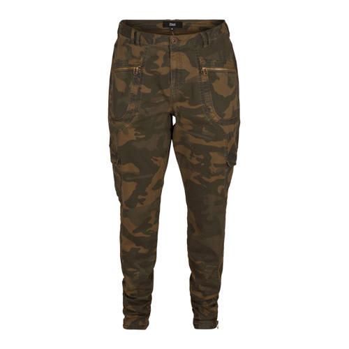 Zizzi slim fit cargobroek Minna met camouflageprin