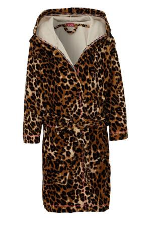 badjas met capuchon en panterprint bruin/zwart