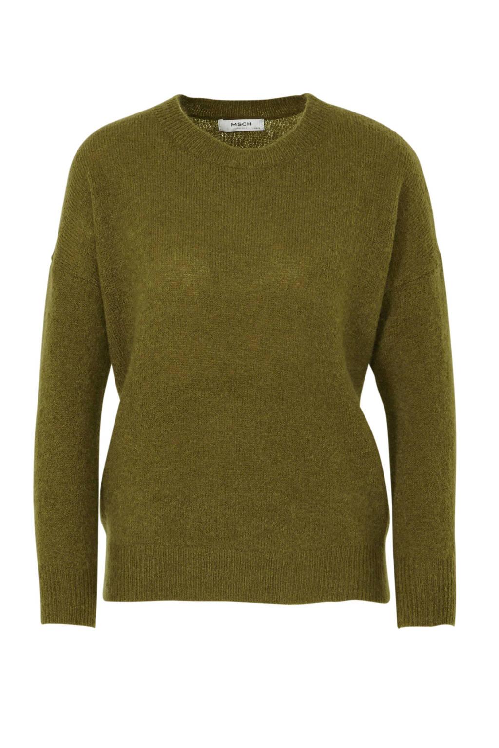 MSCH Copenhagen trui met wol olijfgroen, Olijfgroen