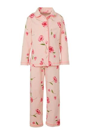 pyjama met allover bloemen dessin roze