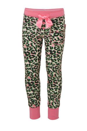 pyjama met panterprint en tekst roze/zwart