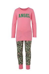 Claesen's pyjama met panterprint en tekst roze/zwart, Roze/groen