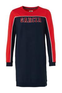 Garcia sweatjurk met tekst en borduursels donkerblauw/rood, Donkerblauw/rood
