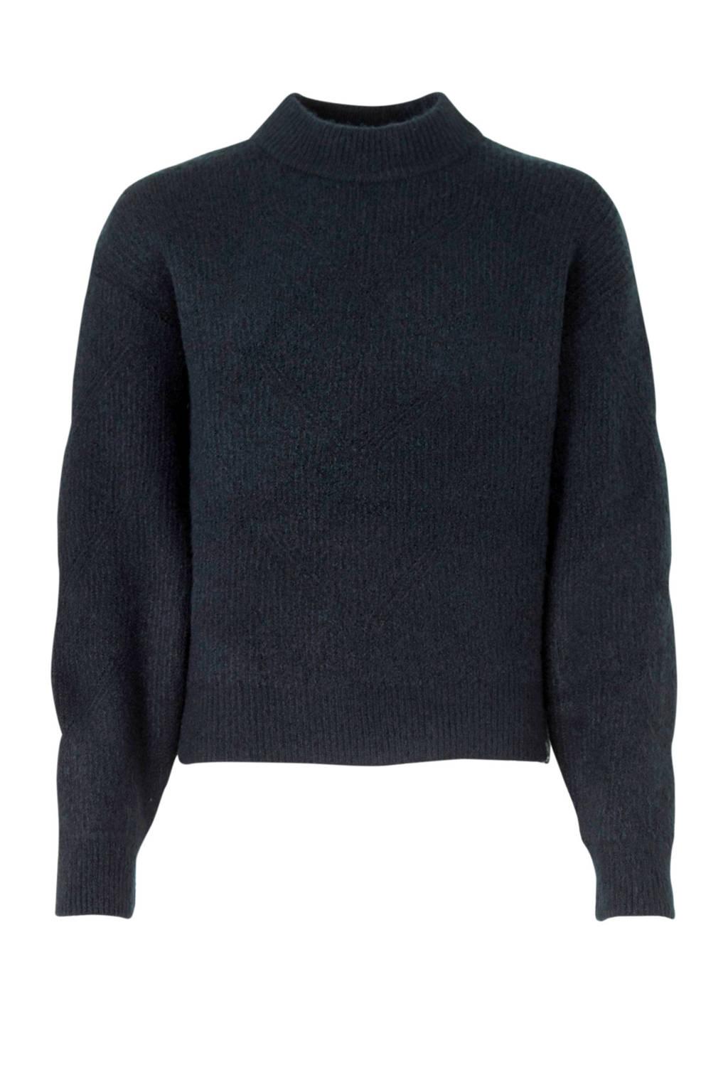 Garcia sweater met col donkerblauw, Donkerblauw