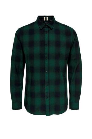 geruit regular fit overhemd groen/zwart