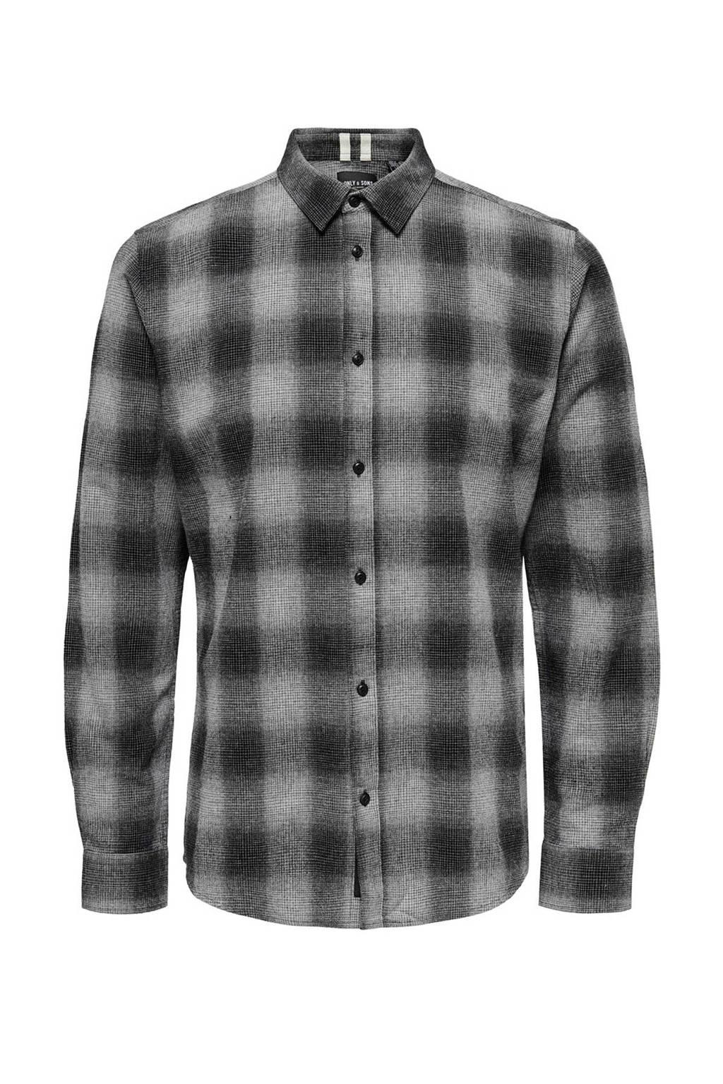 ONLY & SONS PLUS geruit regular fit overhemd grijs/wit, Grijs/wit