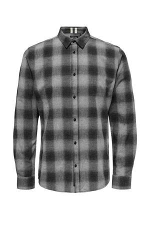 geruit regular fit overhemd grijs/wit