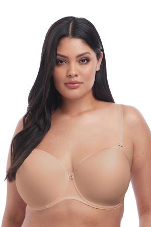 +size voorgevormde strapless beugelbh Smooth beige