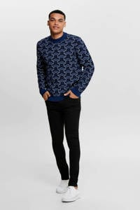 ONLY & SONS trui met all over print blauw/wit, Blauw/wit