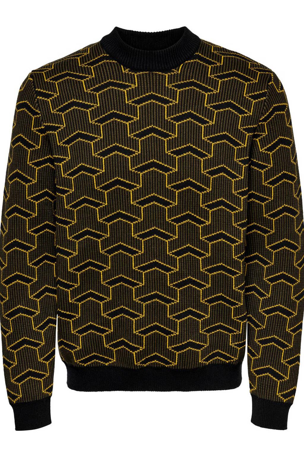 ONLY & SONS trui met all over print zwart, Zwart