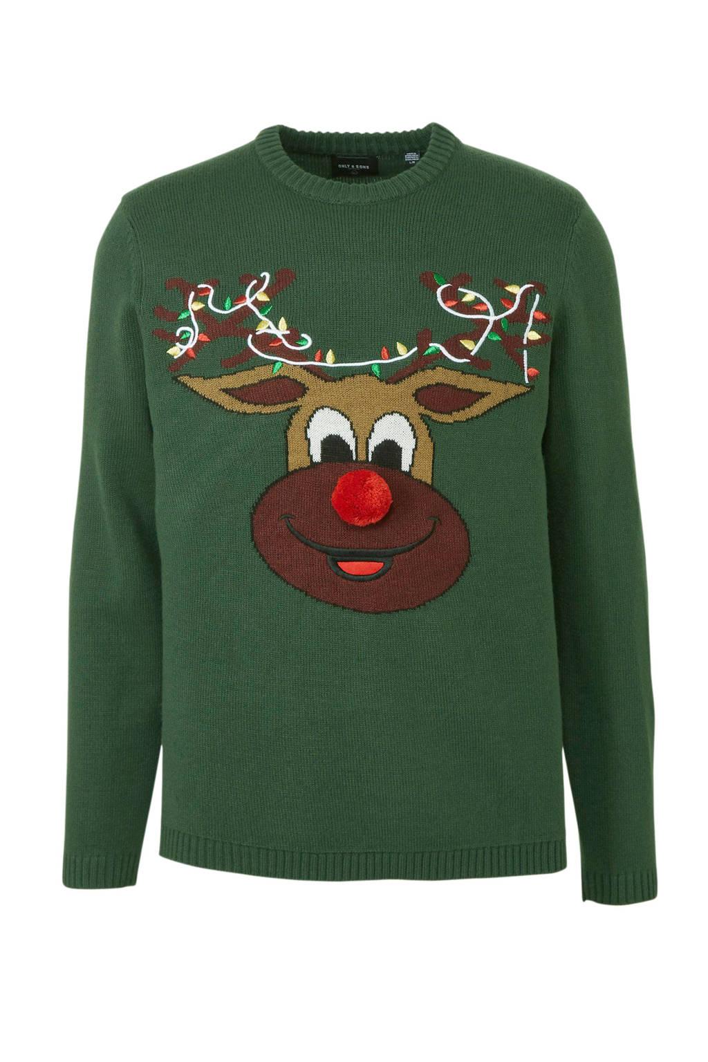 ONLY & SONS kersttrui met printopdruk groen/rood/wit/bruin, Groen/rood/wit/bruin