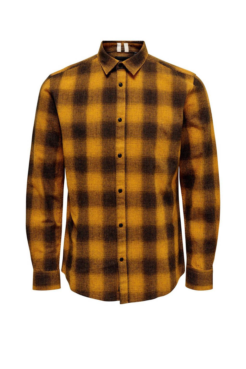 ONLY & SONS geruit slim fit overhemd geel/zwart, Geel/zwart