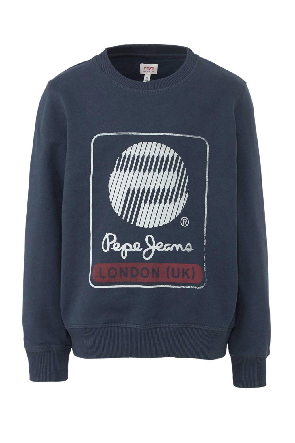 Pepe Jeans sweater Moises met printopdruk donkerblauw, Donkerblauw