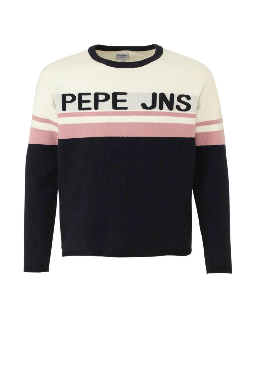 Pepe Jeans trui Britany met logo zwart/wit/roze, Zwart/wit/roze