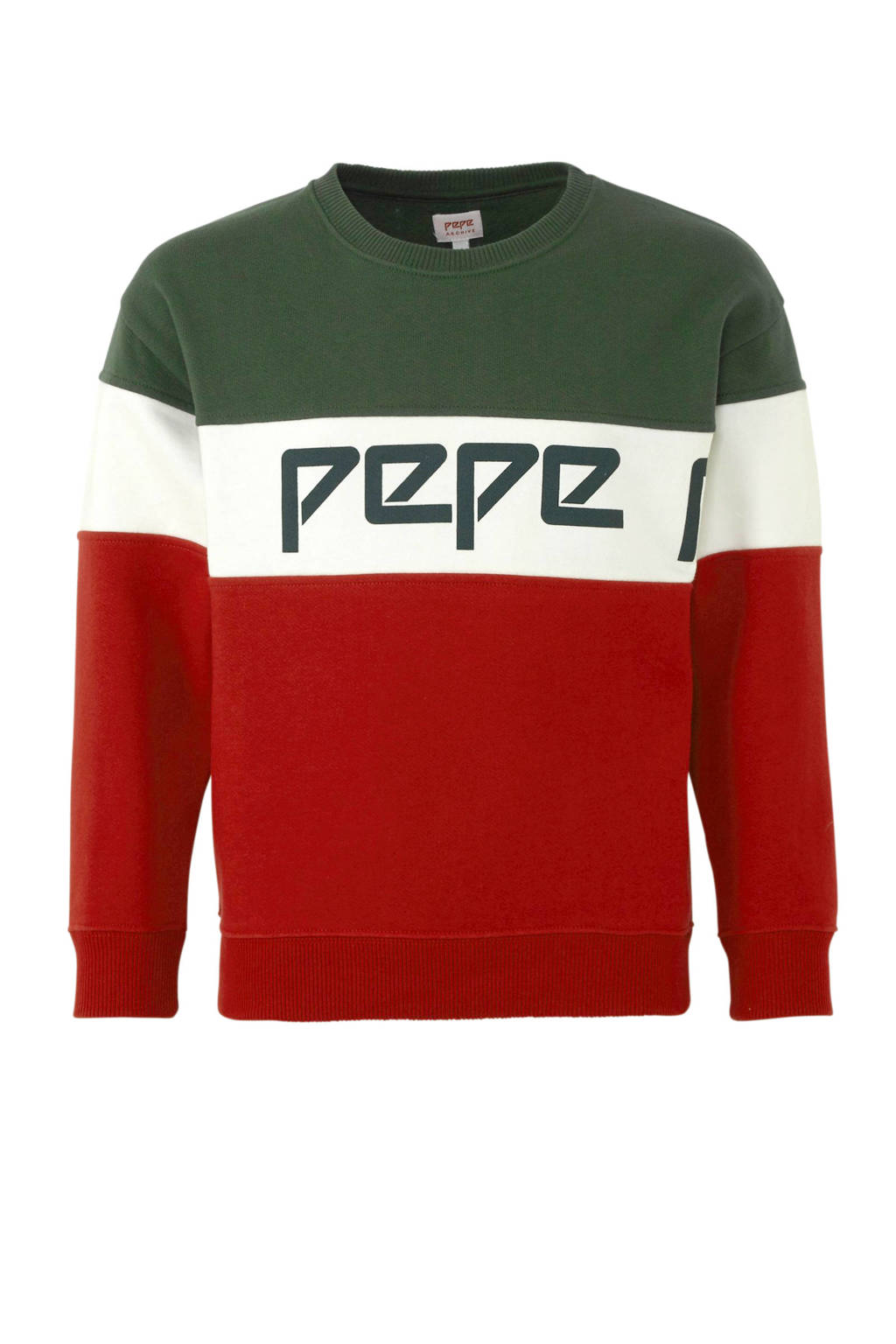 Pepe Jeans sweater Suso met all over print rood/groen/wit, Rood/groen/wit