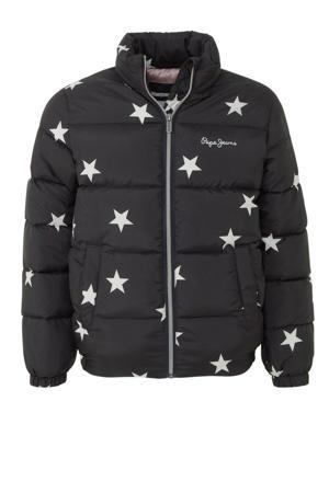winterjas Auriga met sterren zwart/wit