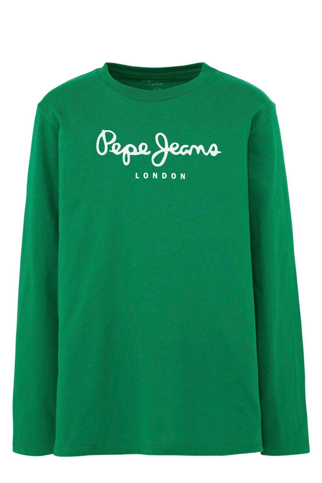 Pepe Jeans longsleeve New Herman met logo groen, Groen